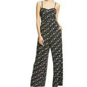 Xhilaration Black & White Floral Wide Leg Jumpsuit